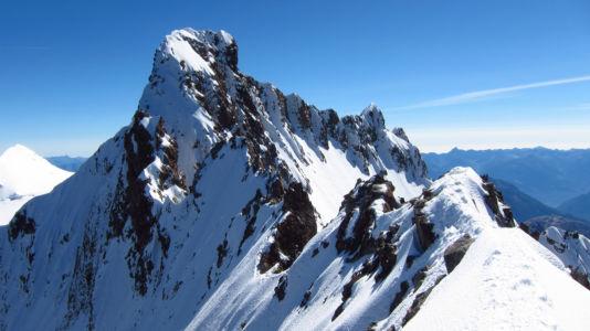 Piz Bernina z grani Biancograt